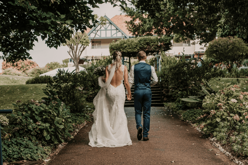 bride and groom getting married in the south west