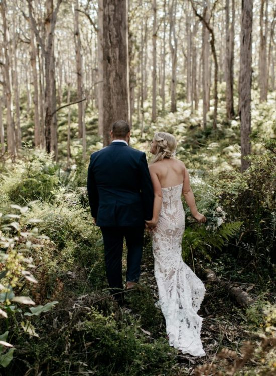 newlyweds in margaret river forest